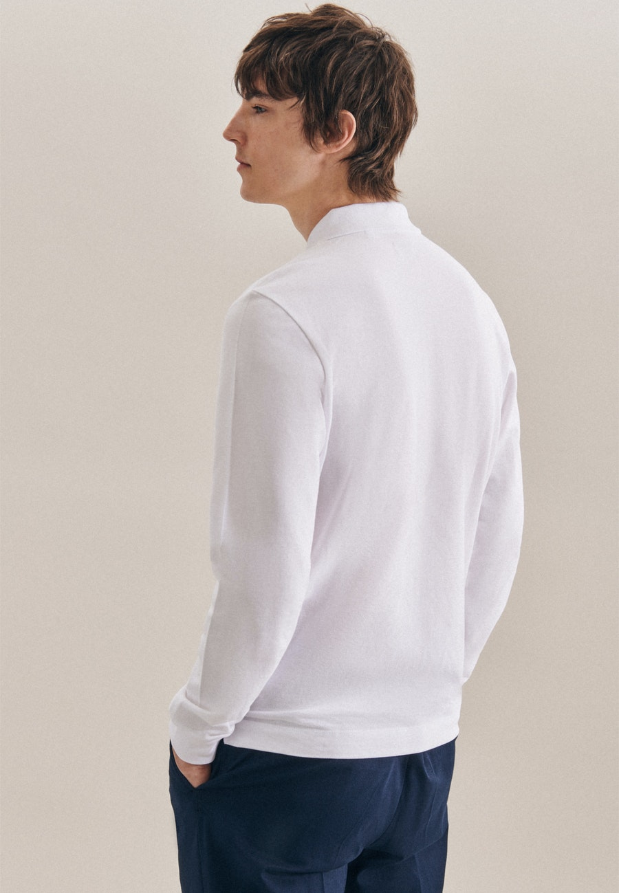 Long sleeve Polo-Shirt Shaped made of 100% Cotton in White |  Seidensticker Onlineshop