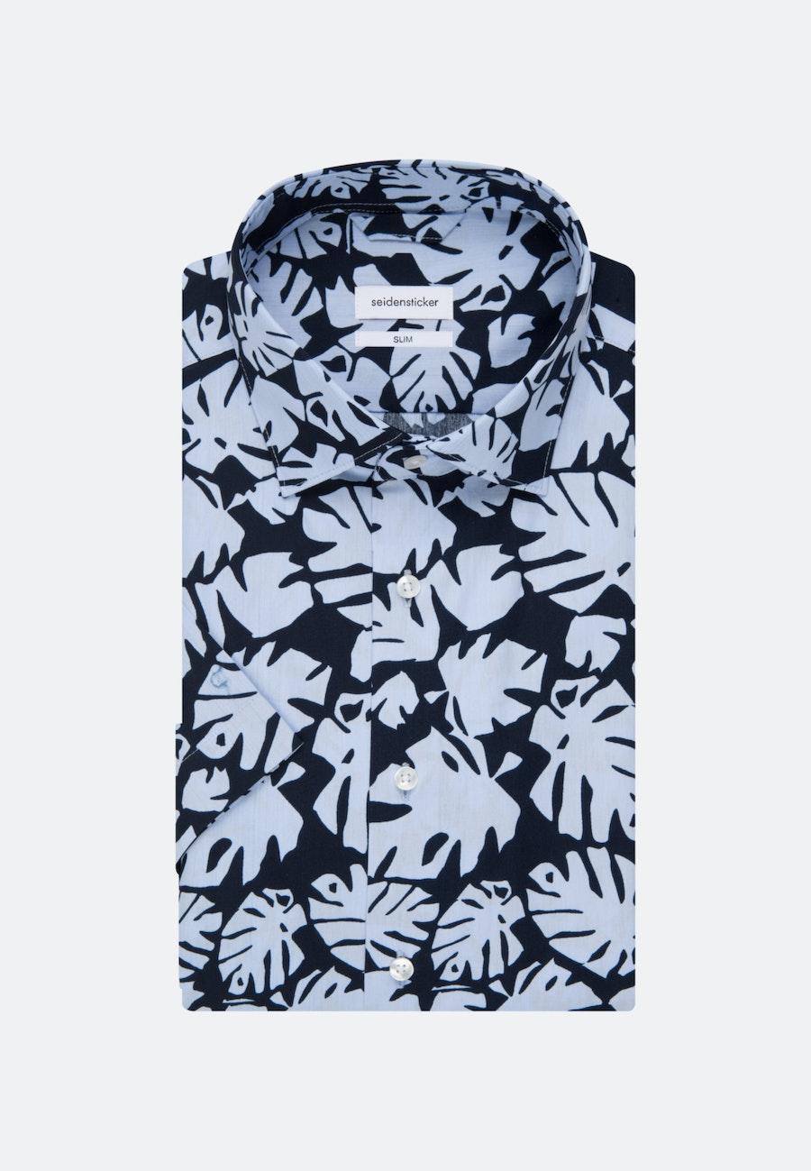 Bügelleichtes Popeline Kurzarm Business Hemd in Slim mit Kentkragen in Hellblau |  Seidensticker Onlineshop