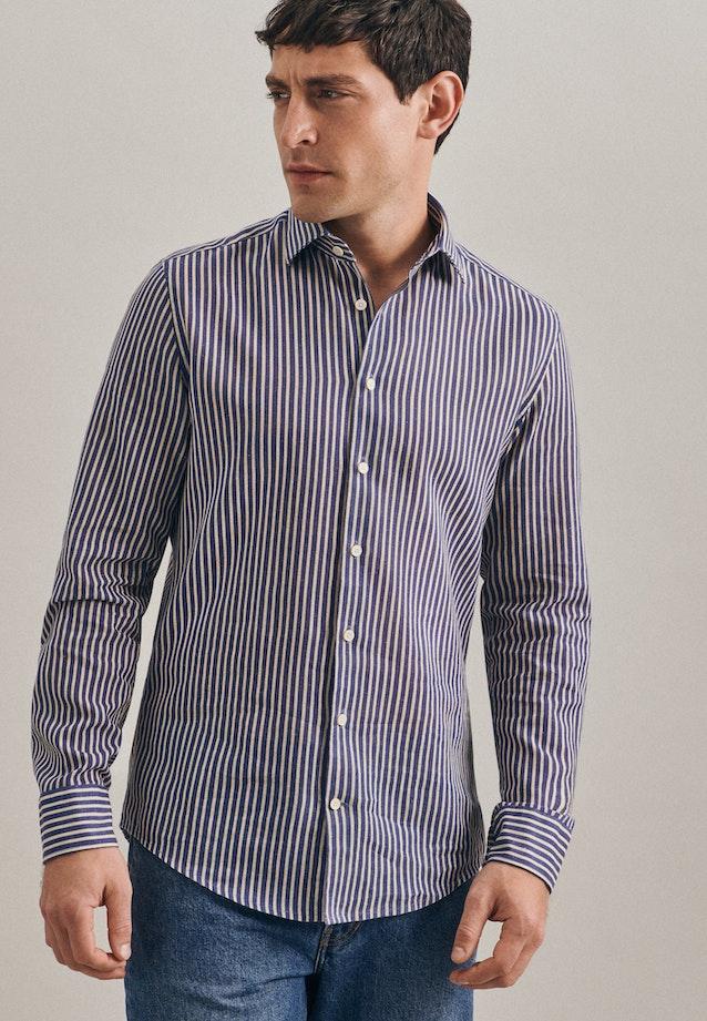 Leinen Leinenhemd in Slim mit Kentkragen in Mittelblau |  Seidensticker Onlineshop
