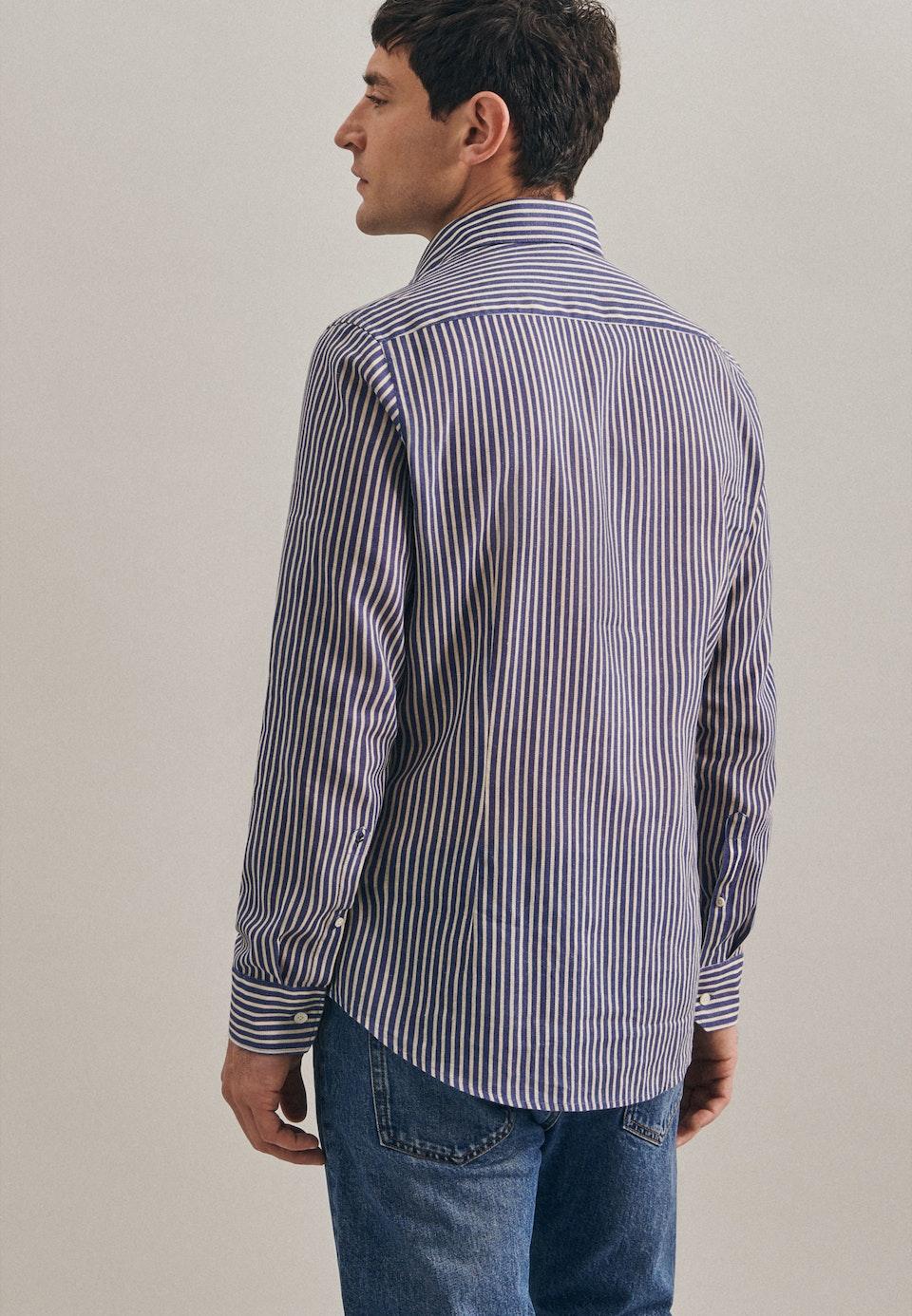 Bügelfreies Leinen Business Hemd in Slim mit Kentkragen in Mittelblau |  Seidensticker Onlineshop