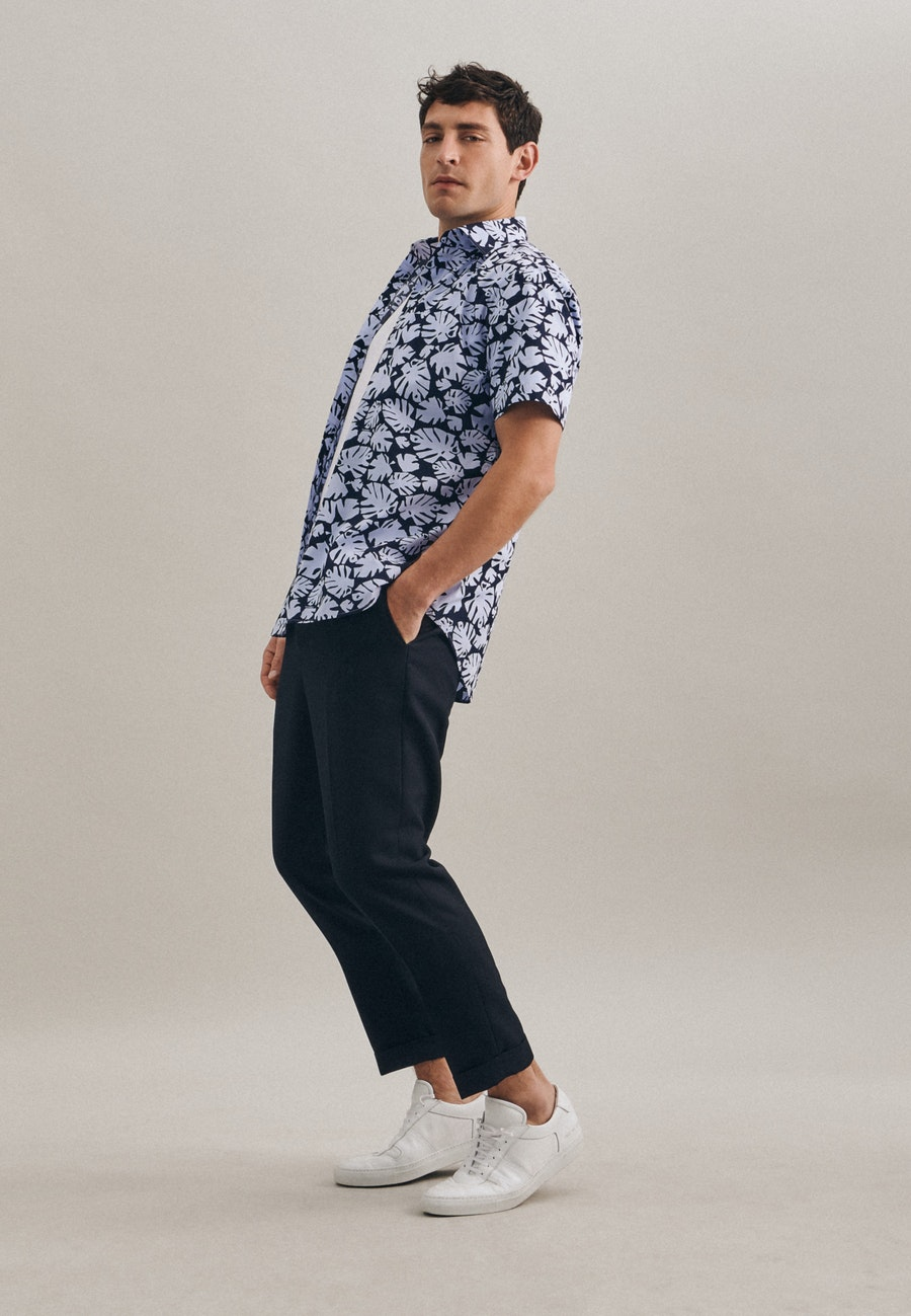 Poplin Short sleeve Business Shirt in Shaped with Kent-Collar in Light blue |  Seidensticker Onlineshop