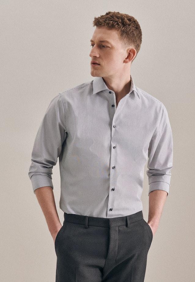 Non-iron Popeline Business Shirt in Shaped with Kent-Collar in Grey |  Seidensticker Onlineshop