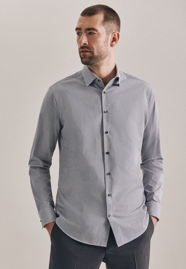 Non-iron Popeline Business Shirt in Shaped with Kent-Collar in Grey |  Seidensticker Onlineshop