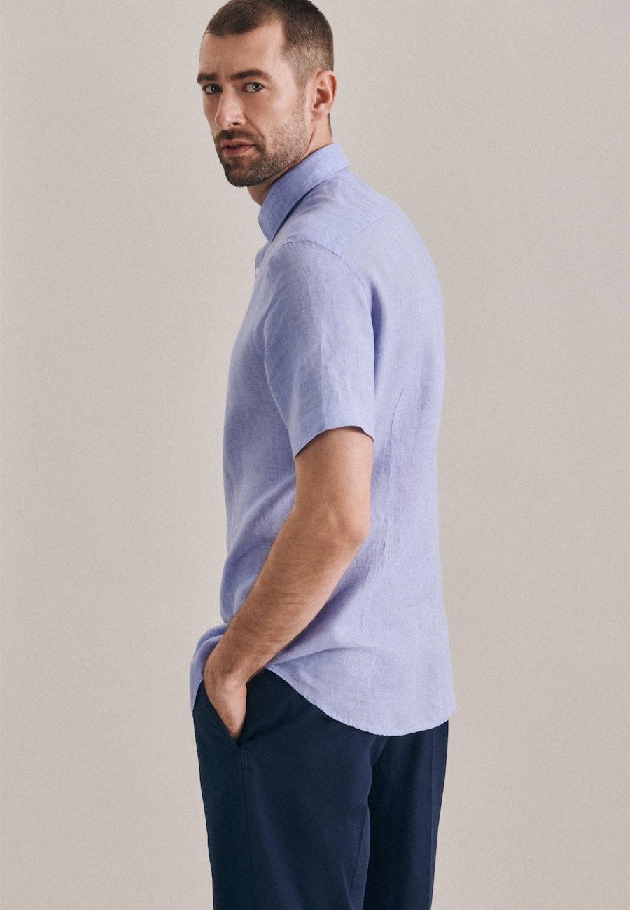 Bügelleichtes Leinen Kurzarm Business Hemd in Shaped mit Kentkragen in Hellblau |  Seidensticker Onlineshop