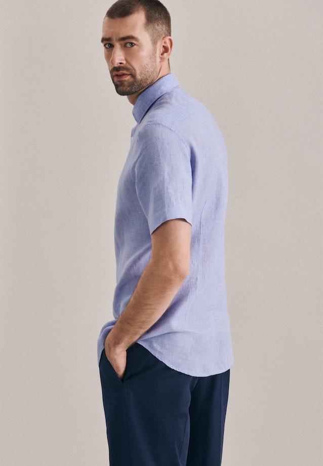 Leinen Kurzarm Leinenhemd in Shaped mit Kentkragen in Hellblau    Seidensticker Onlineshop