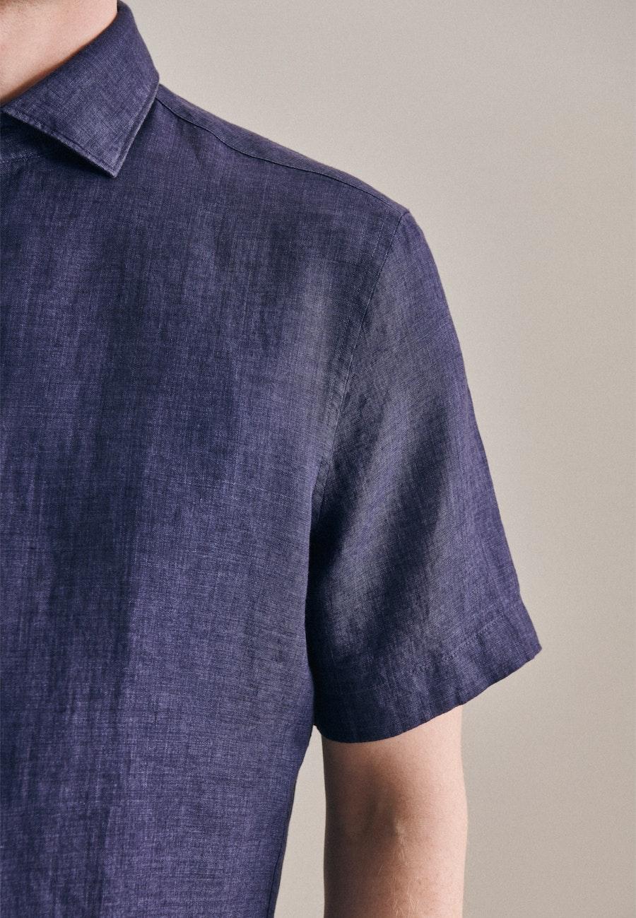 Easy-iron Leinen Short sleeve Business Shirt in Shaped with Kent-Collar in Dark blue    Seidensticker Onlineshop