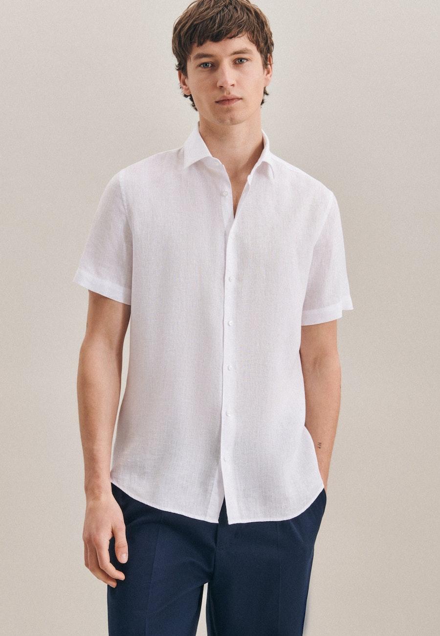 Bügelleichtes Leinen Kurzarm Business Hemd in Shaped mit Kentkragen in Weiß    Seidensticker Onlineshop