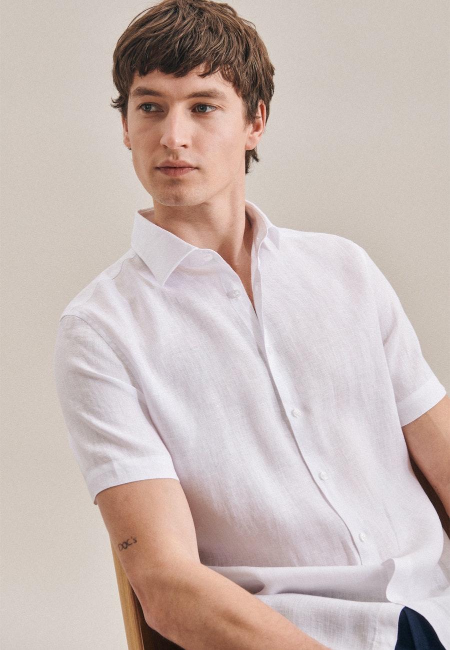 Leinenhemd Uni in Weiß |  Seidensticker Onlineshop