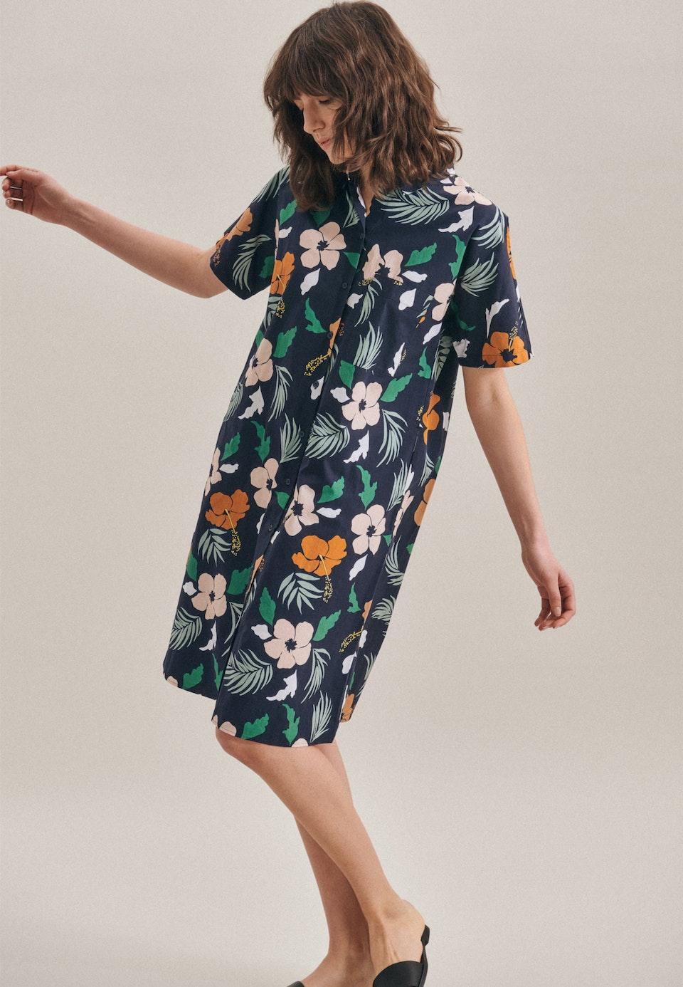 Voile Midi Kleid aus Baumwollmischung in Dunkelblau |  Seidensticker Onlineshop
