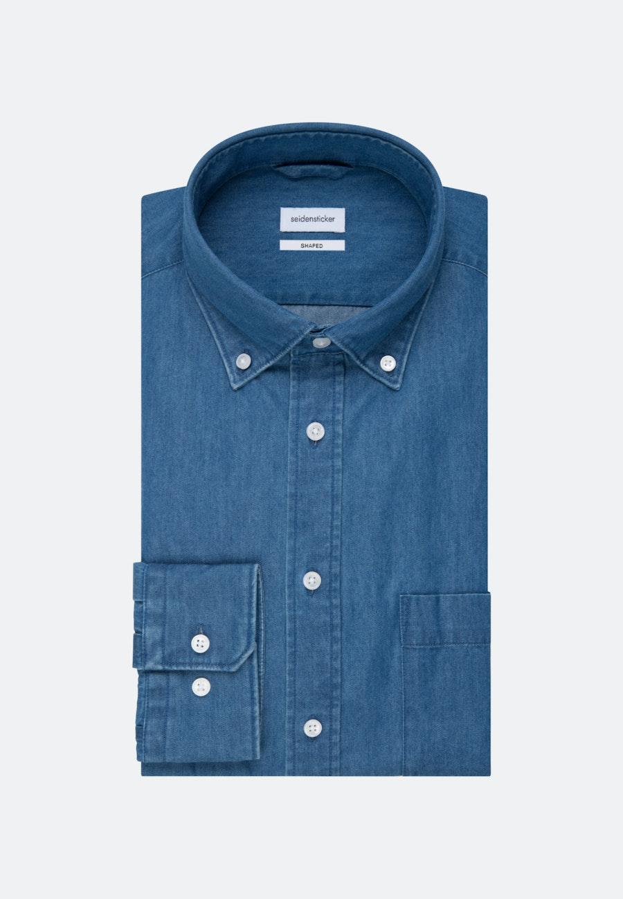 Easy-iron Denim Business Shirt in Shaped with Button-Down-Collar in Medium blue    Seidensticker Onlineshop
