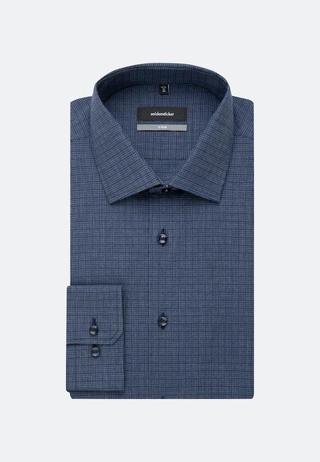 Bügelleichtes Melange Garne Business Hemd in X-Slim mit Kentkragen und extra langem Arm in Dunkelblau |  Seidensticker Onlineshop