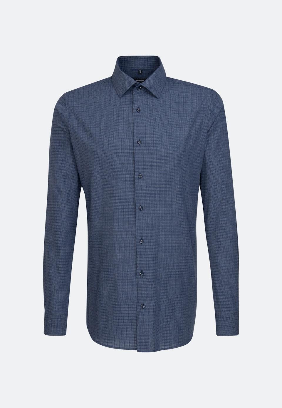 Melange Garne Business Hemd in X-Slim mit Kentkragen und extra langem Arm in Dunkelblau    Seidensticker Onlineshop