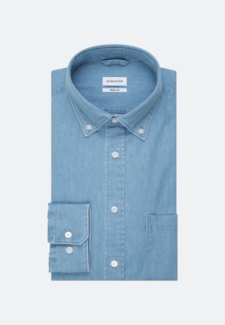 Bügelleichtes Denim Business Hemd in Regular mit Button-Down-Kragen in Hellblau |  Seidensticker Onlineshop