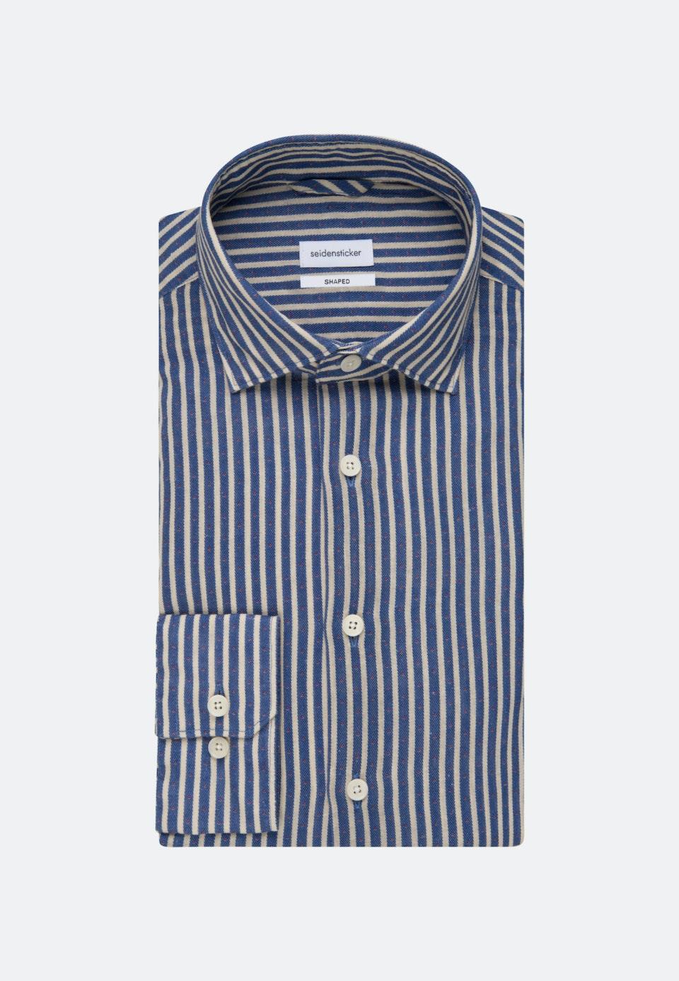 Bügelfreies Leinen Business Hemd in Shaped mit Kentkragen in Mittelblau |  Seidensticker Onlineshop