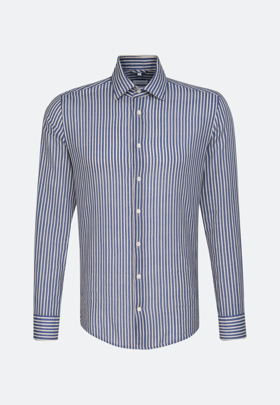 Leinen Leinenhemd in Shaped mit Kentkragen in Mittelblau |  Seidensticker Onlineshop