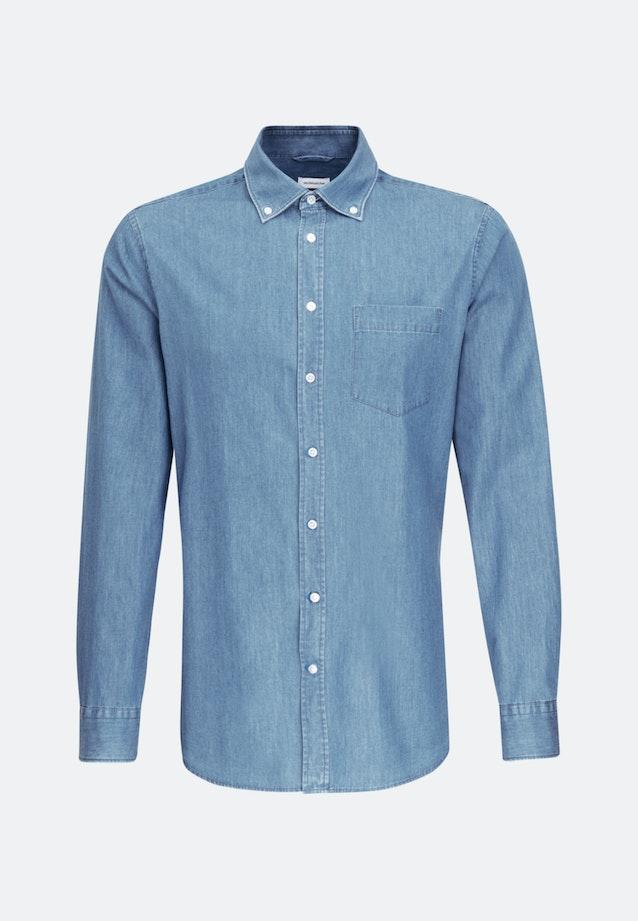 Bügelleichtes Denim Business Hemd in Slim mit Button-Down-Kragen in Hellblau |  Seidensticker Onlineshop