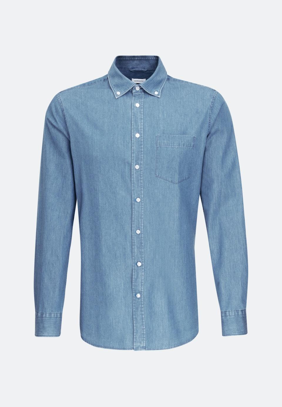 Denimhemd in Slim mit Button-Down-Kragen in Hellblau    Seidensticker Onlineshop