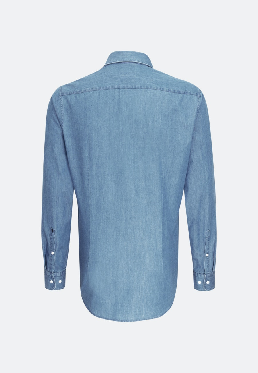 Easy-iron Denim Business Shirt in Slim with Button-Down-Collar in Light blue |  Seidensticker Onlineshop