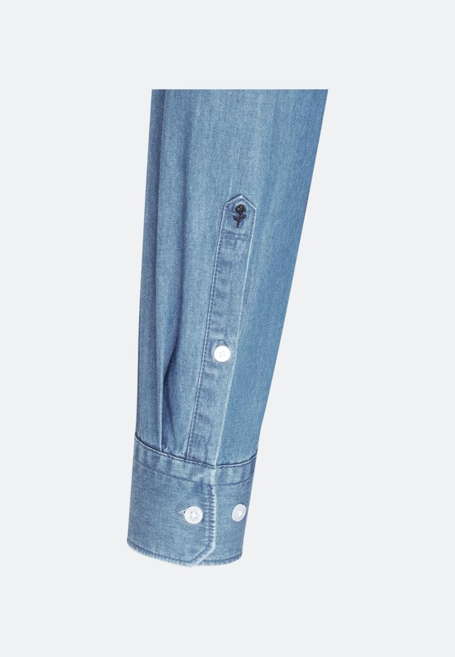 Easy-iron Denim Business Shirt in Slim with Button-Down-Collar in Light blue    Seidensticker Onlineshop