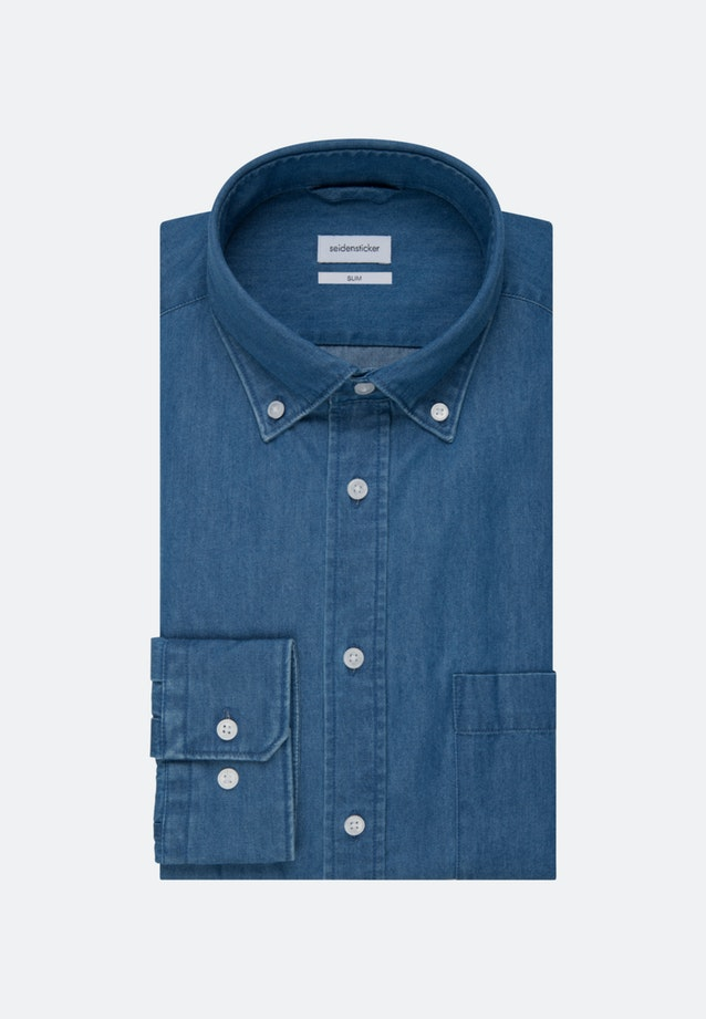 Bügelleichtes Denim Business Hemd in Slim mit Button-Down-Kragen in Mittelblau |  Seidensticker Onlineshop