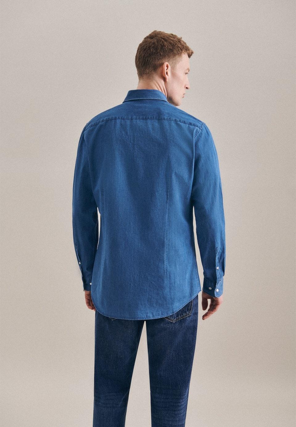 Denim shirt in Slim with Button-Down-Collar in Medium blue    Seidensticker Onlineshop