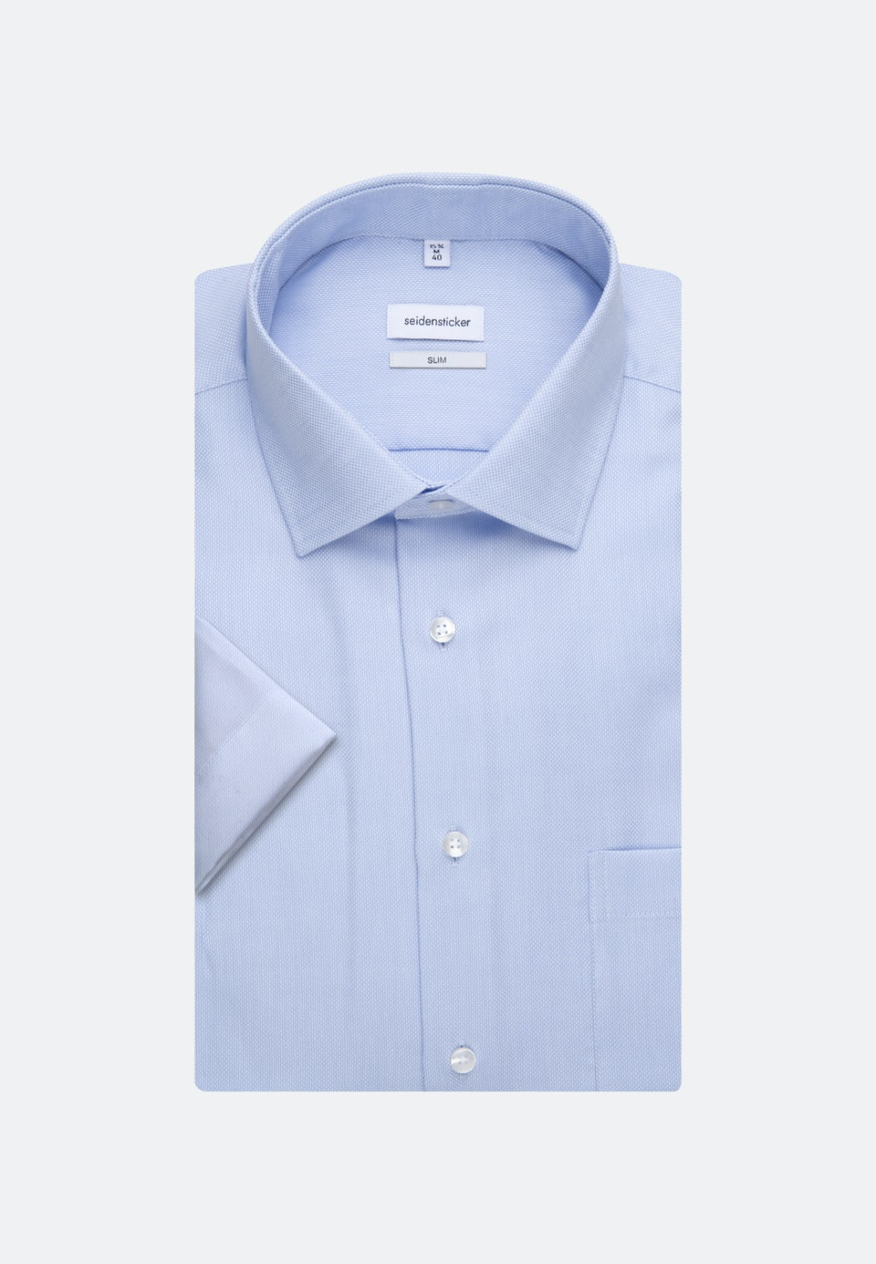 Non-iron Structure Short sleeve Business Shirt in Shaped with Kent-Collar in Light blue    Seidensticker Onlineshop