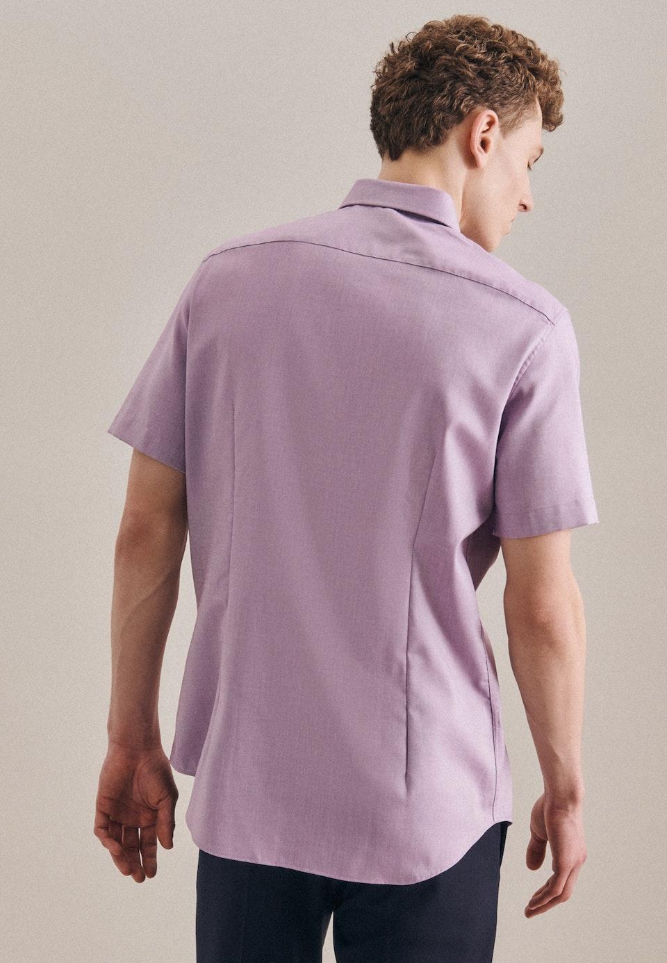 Bügelfreies Struktur Kurzarm Business Hemd in Shaped mit Kentkragen in Lila |  Seidensticker Onlineshop