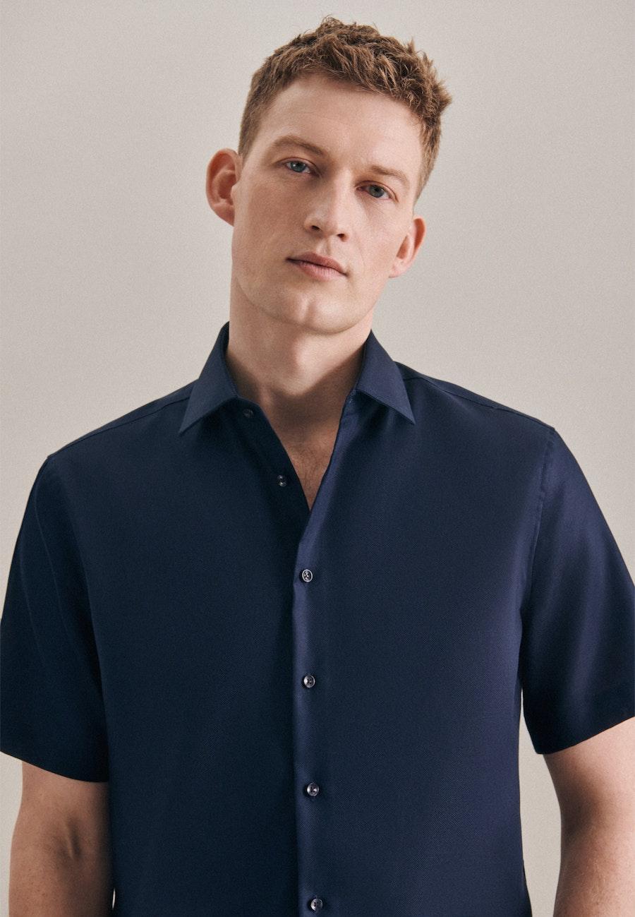 Non-iron Struktur Short sleeve Business Shirt in Slim with Kent-Collar in Dark blue |  Seidensticker Onlineshop