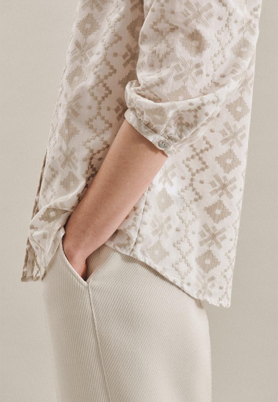 3/4-Arm Voile Stehkragenbluse aus 100% Baumwolle in Braun |  Seidensticker Onlineshop