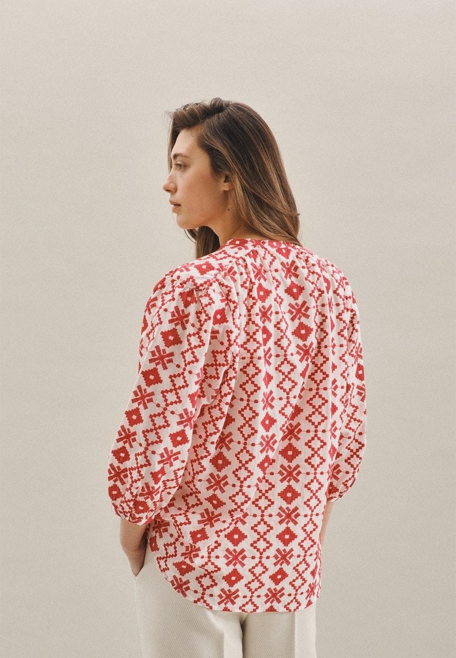 3/4-Arm Voile Stehkragenbluse aus 100% Baumwolle in Rosa/Pink |  Seidensticker Onlineshop