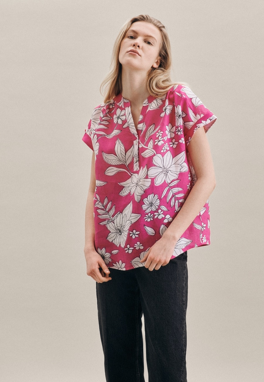 Sleeveless Linen Slip Over Blouse made of 100% Linen in Pink |  Seidensticker Onlineshop