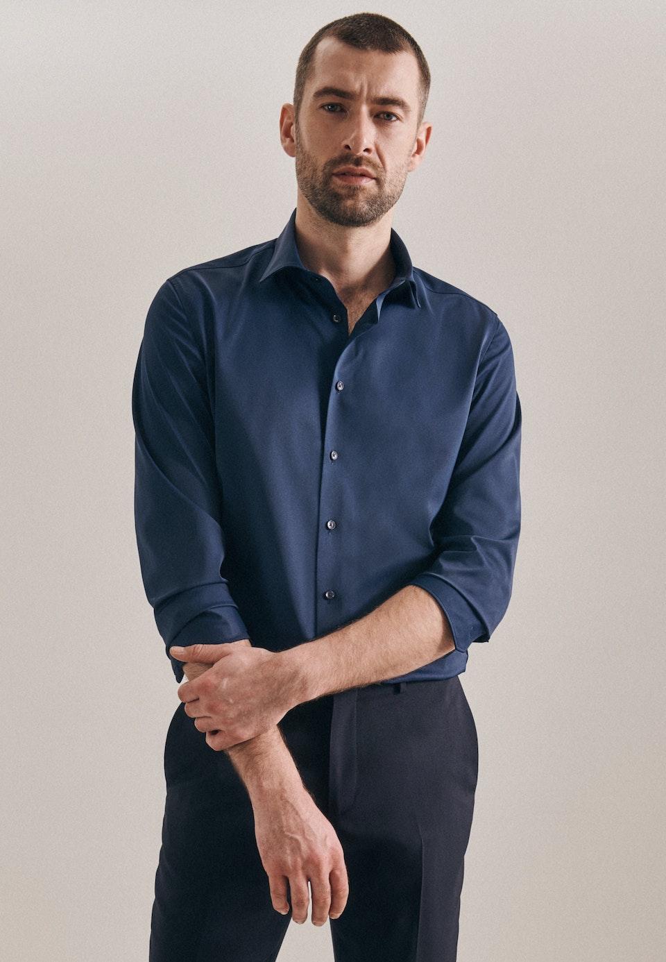 Twill Business Shirt in Slim with Kent-Collar in Dark blue |  Seidensticker Onlineshop