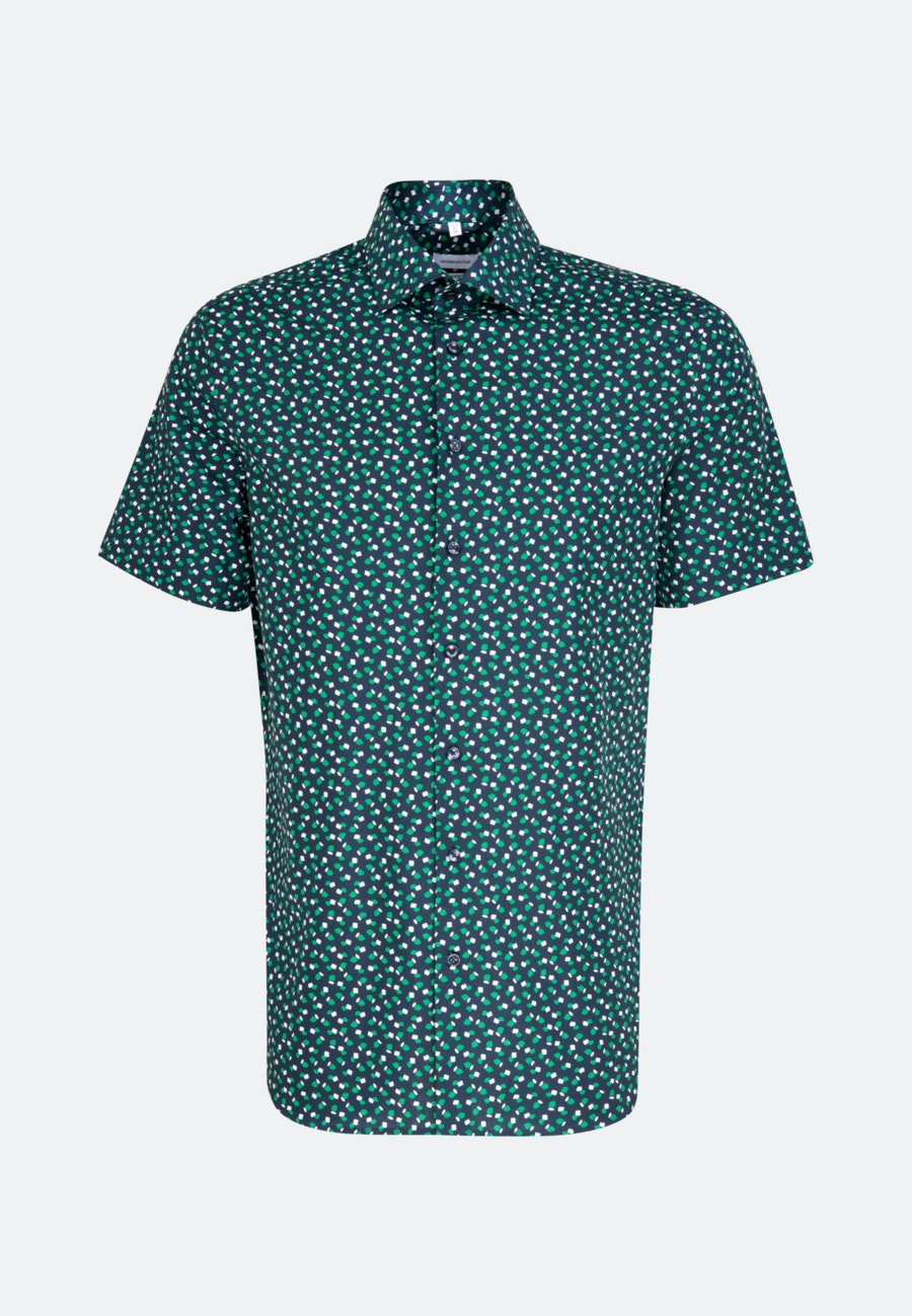 Easy-iron Popeline Short sleeve Business Shirt in Shaped with Kent-Collar in Green    Seidensticker Onlineshop