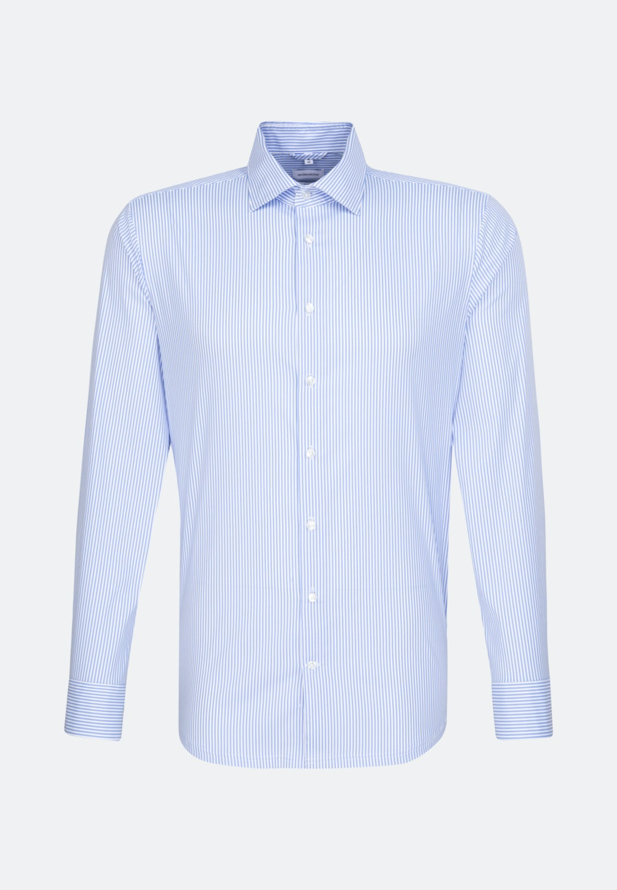 Easy-iron Twill Business Shirt in Shaped with Kent-Collar in Light blue    Seidensticker Onlineshop