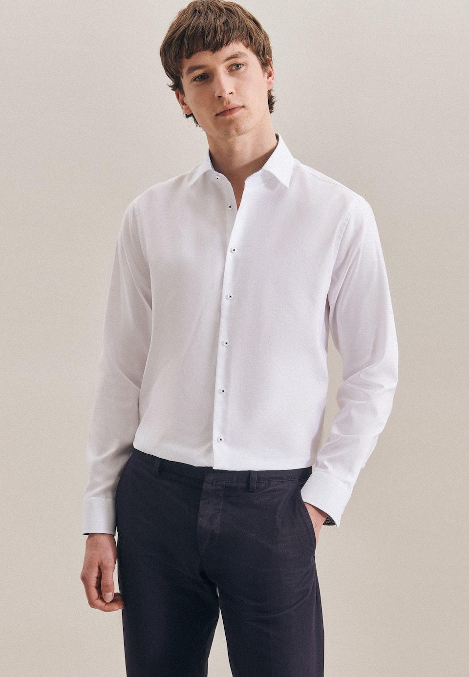 Non-iron Oxford Business Shirt in X-Slim with Kent-Collar in White    Seidensticker Onlineshop