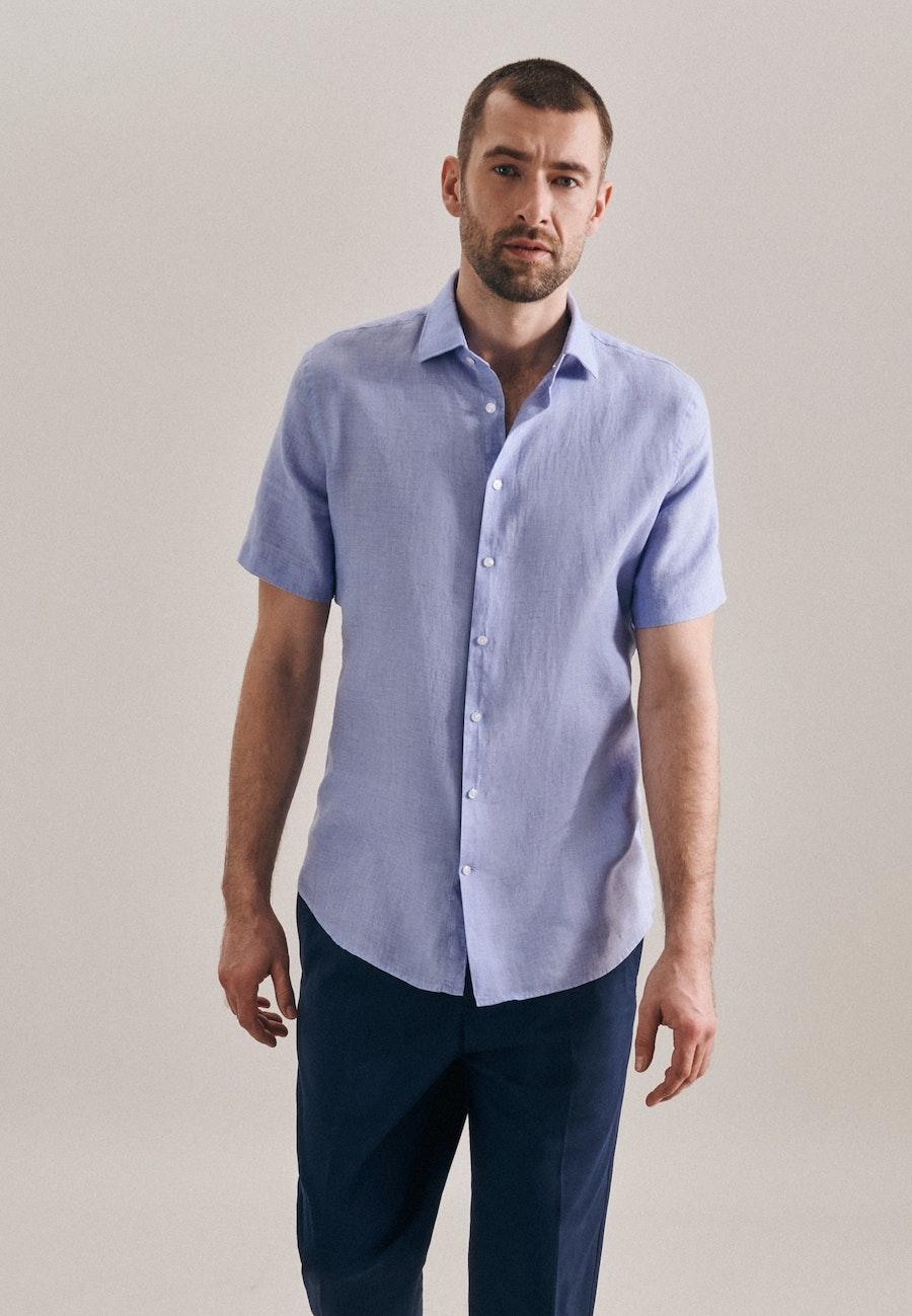 Bügelleichtes Leinen Kurzarm Business Hemd in Slim mit Kentkragen in Hellblau    Seidensticker Onlineshop