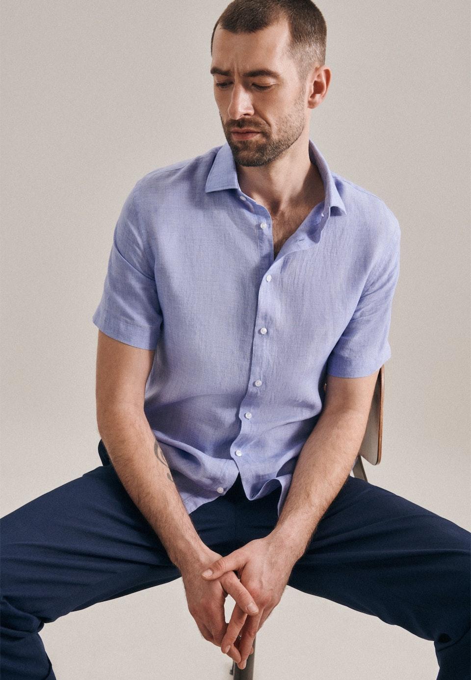 Linen Shirt Slim Short Sleeve Kent in Light blue |  Seidensticker Onlineshop