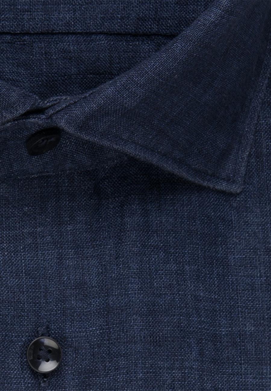 Bügelleichtes Leinen Kurzarm Business Hemd in Slim mit Kentkragen in Dunkelblau    Seidensticker Onlineshop