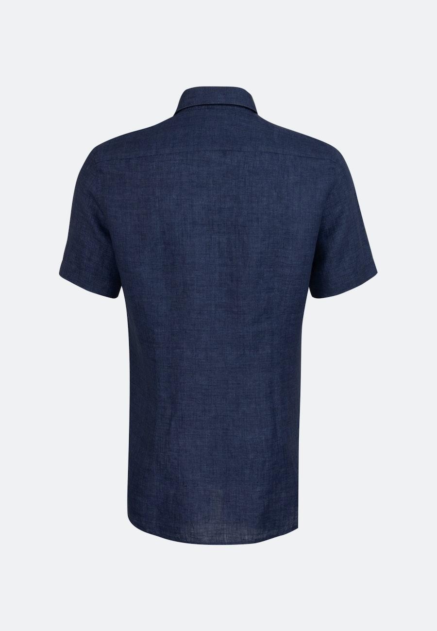 Leinen Kurzarm Leinenhemd in Slim mit Kentkragen in Dunkelblau    Seidensticker Onlineshop