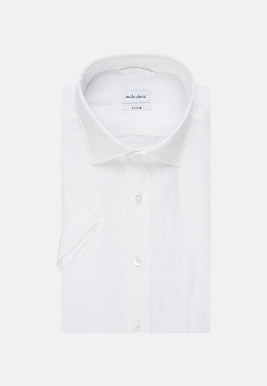 Bügelleichtes Leinen Kurzarm Business Hemd in Slim mit Kentkragen in Weiß |  Seidensticker Onlineshop