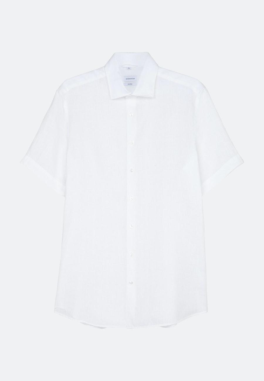 Leinen Kurzarm Leinenhemd in Slim mit Kentkragen in Weiß    Seidensticker Onlineshop