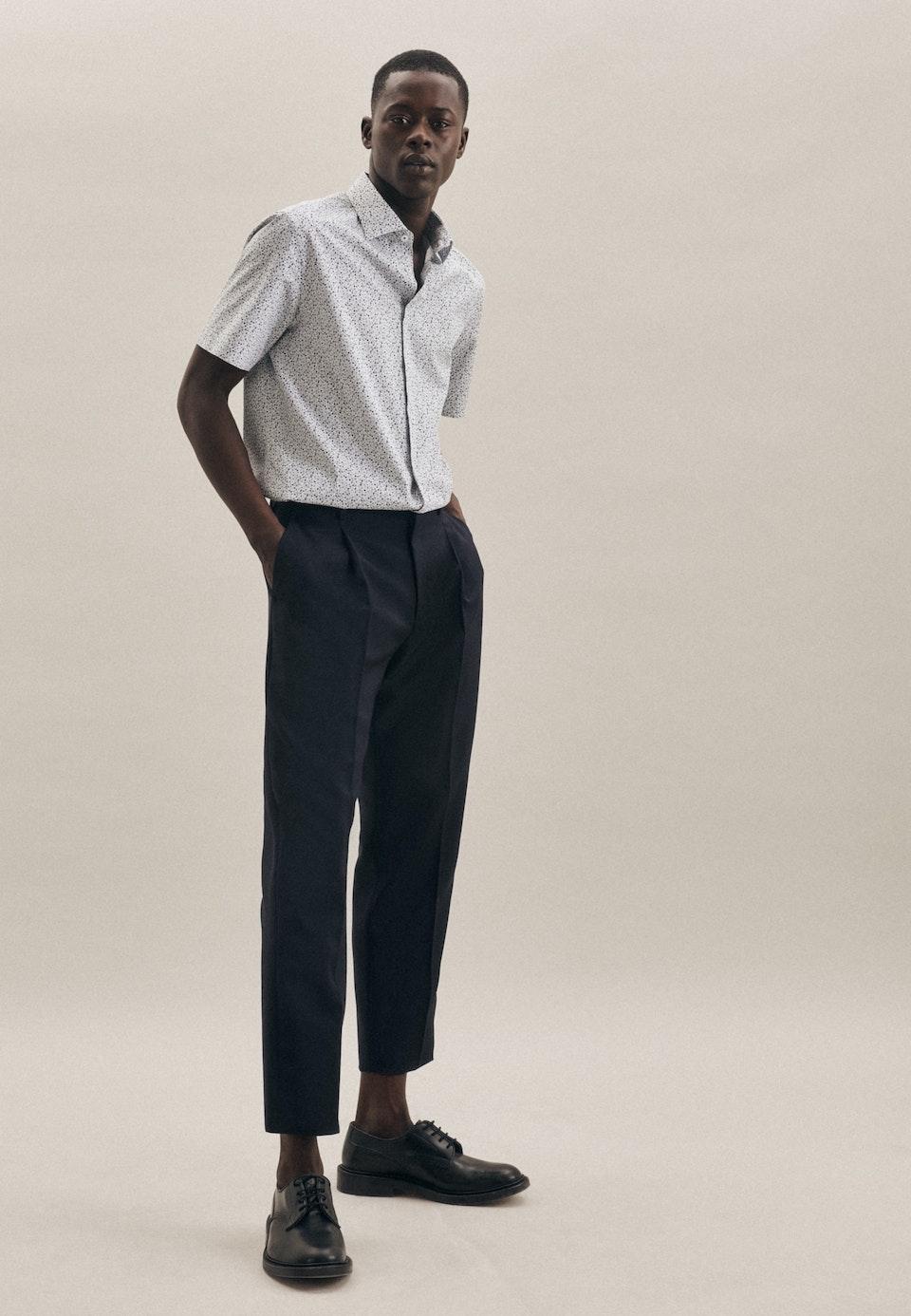 Bügelleichtes Popeline Kurzarm Business Hemd in Slim mit Kentkragen in Dunkelblau    Seidensticker Onlineshop
