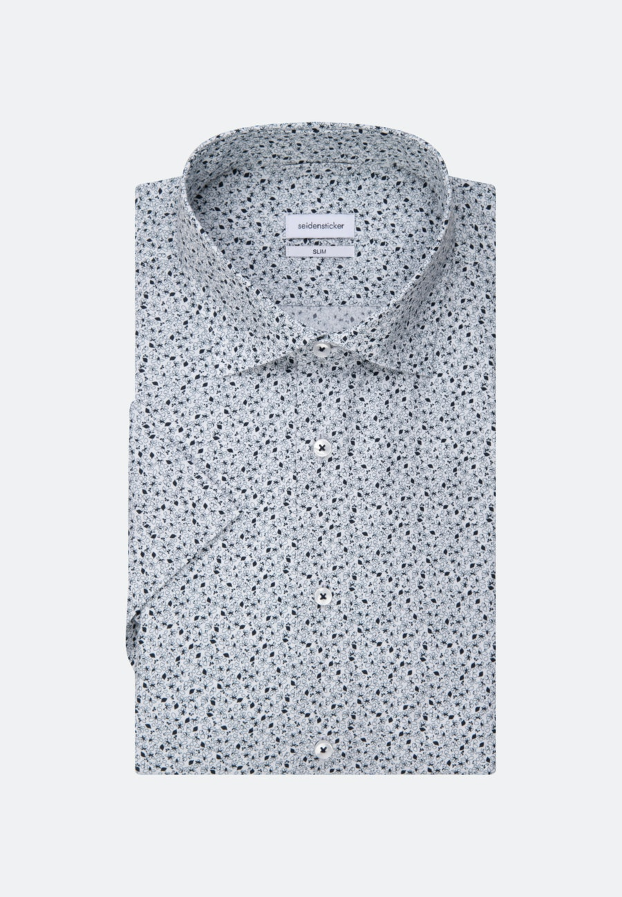 Easy-iron Popeline Short sleeve Business Shirt in Slim with Kent-Collar in Dark blue |  Seidensticker Onlineshop