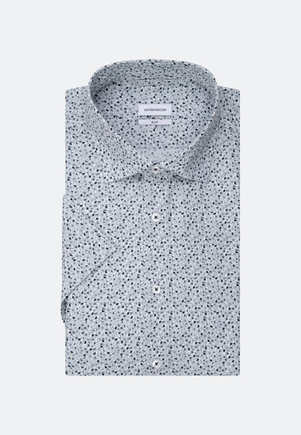 Popeline Kurzarm Business Hemd in Slim mit Kentkragen in Dunkelblau    Seidensticker Onlineshop
