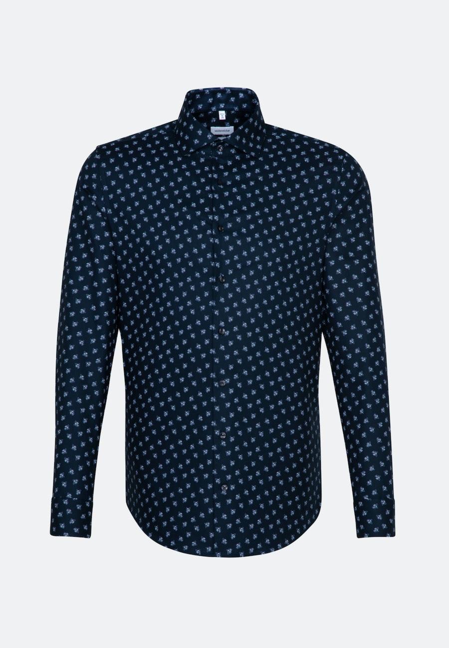 Bügelleichtes Oxford Business Hemd in Slim mit Kentkragen und extra langem Arm in Dunkelblau    Seidensticker Onlineshop