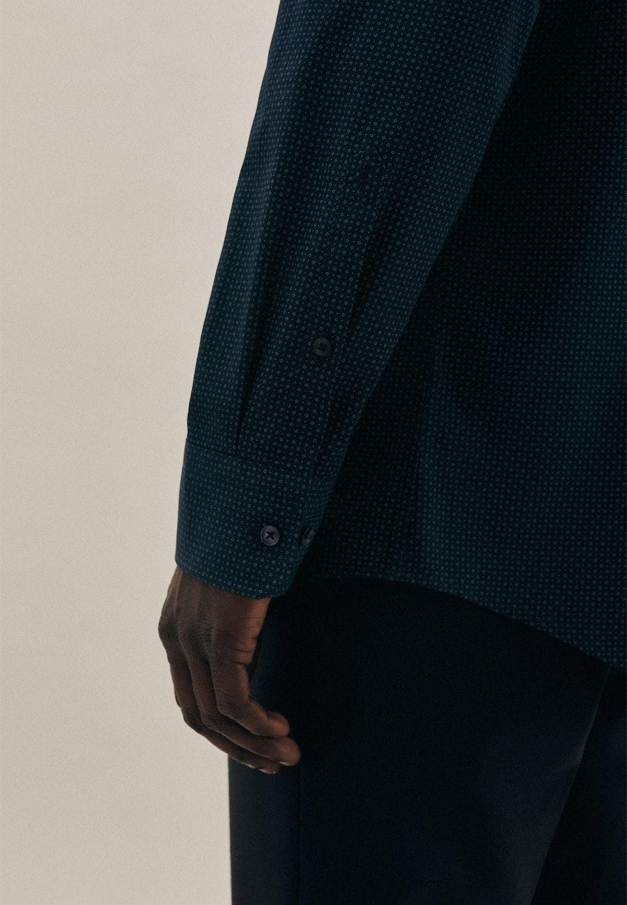 Easy-iron Popeline Business Shirt in Regular with Kent-Collar in Dark blue |  Seidensticker Onlineshop
