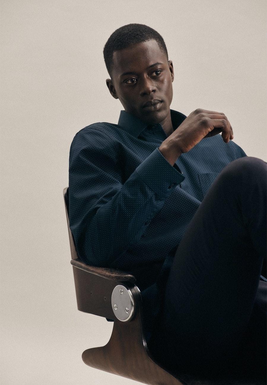 Poplin Business Shirt in Regular with Kent-Collar in Dark blue |  Seidensticker Onlineshop