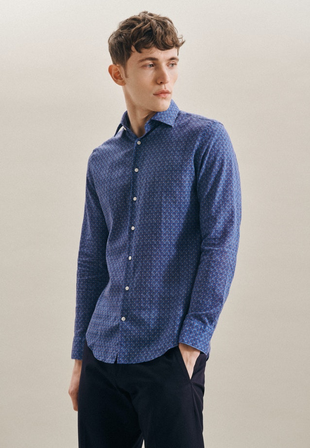 Easy-iron Leinen Business Shirt in Slim with Kent-Collar in Medium blue |  Seidensticker Onlineshop