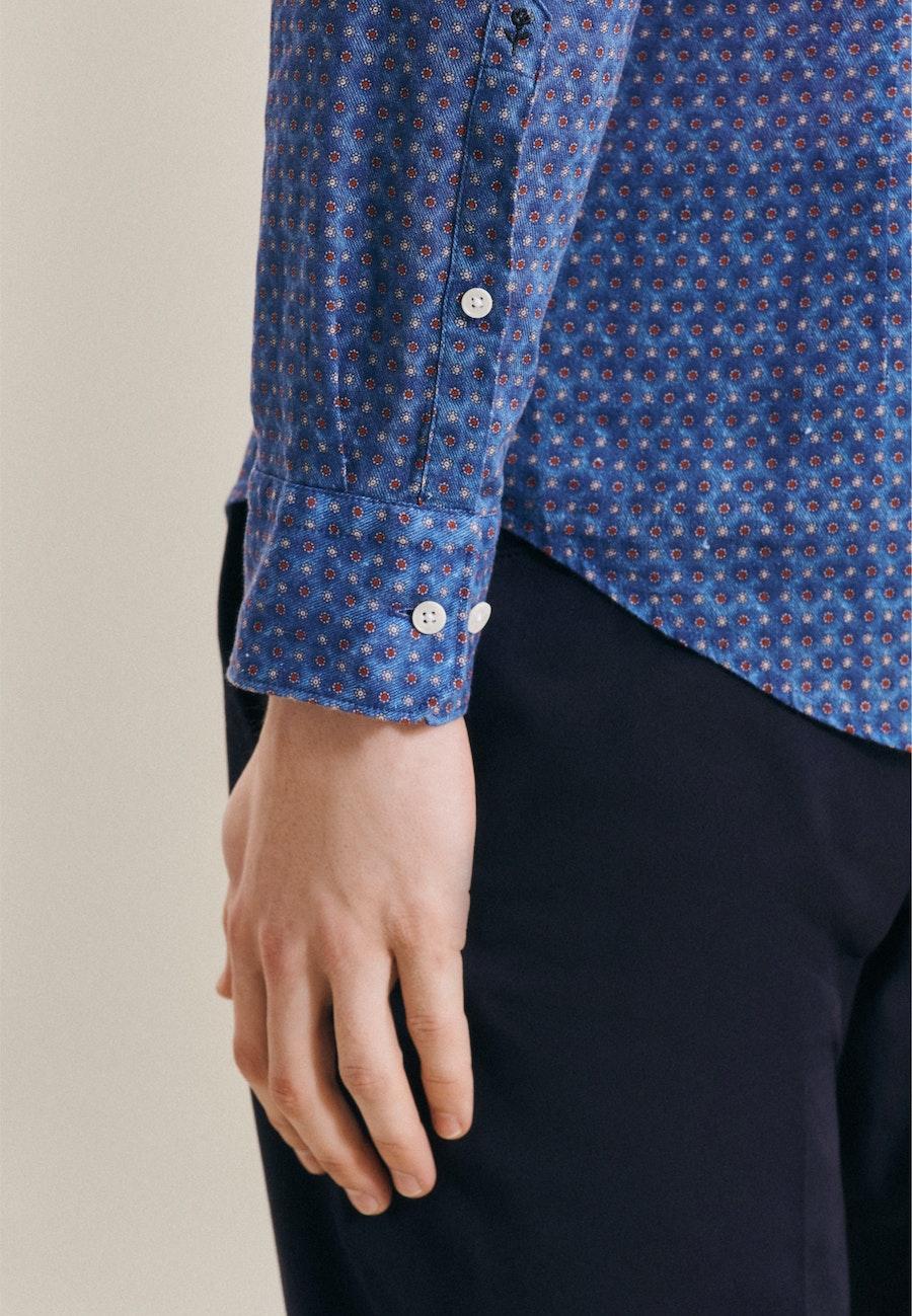 Bügelleichtes Leinen Business Hemd in Slim mit Kentkragen in Mittelblau |  Seidensticker Onlineshop