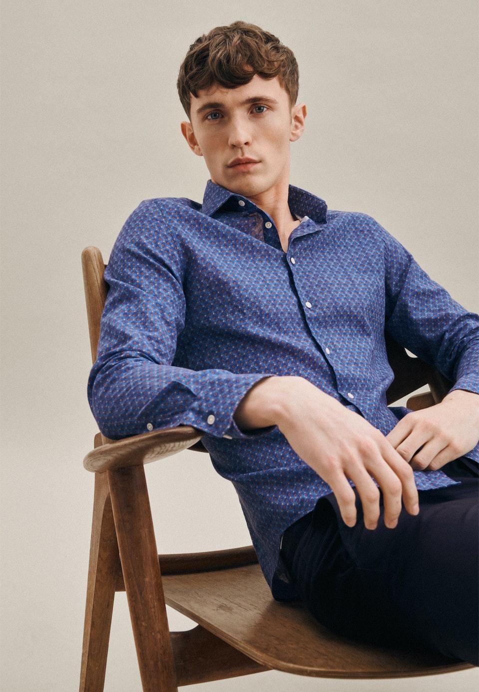 Linen Linen shirt in Slim with Kent-Collar in Medium blue |  Seidensticker Onlineshop